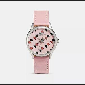 Coach Checker Heart Blush Pink Leather Strap Watch